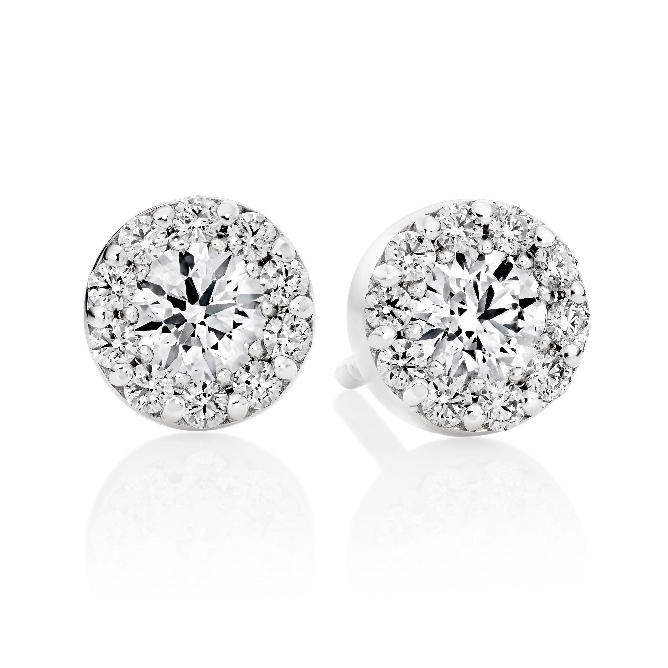 Hearts On Fire Fulfilment 18ct White Gold Diamond Cluster Earrings