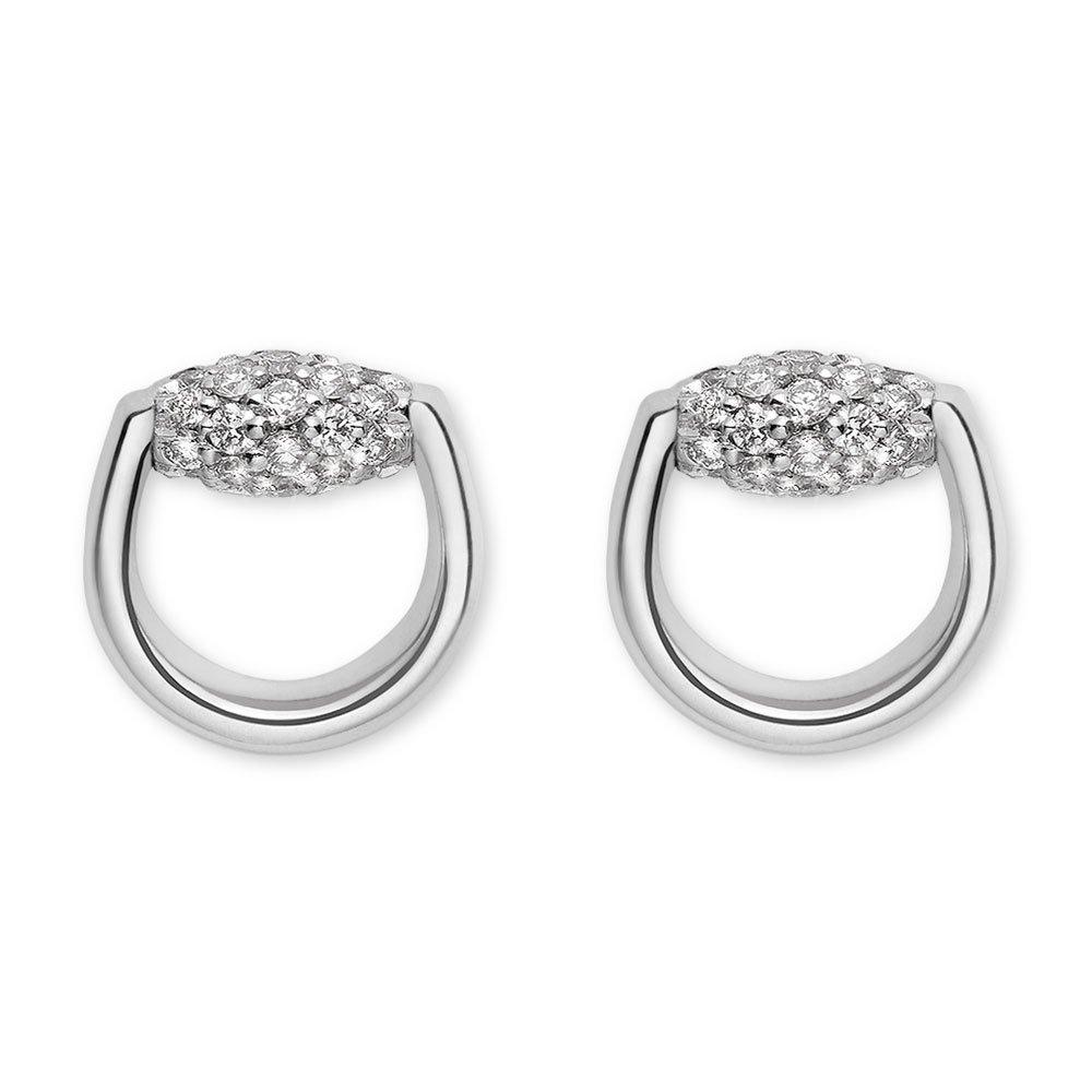 Gucci Horsebit 18ct White Gold Diamond Earrings