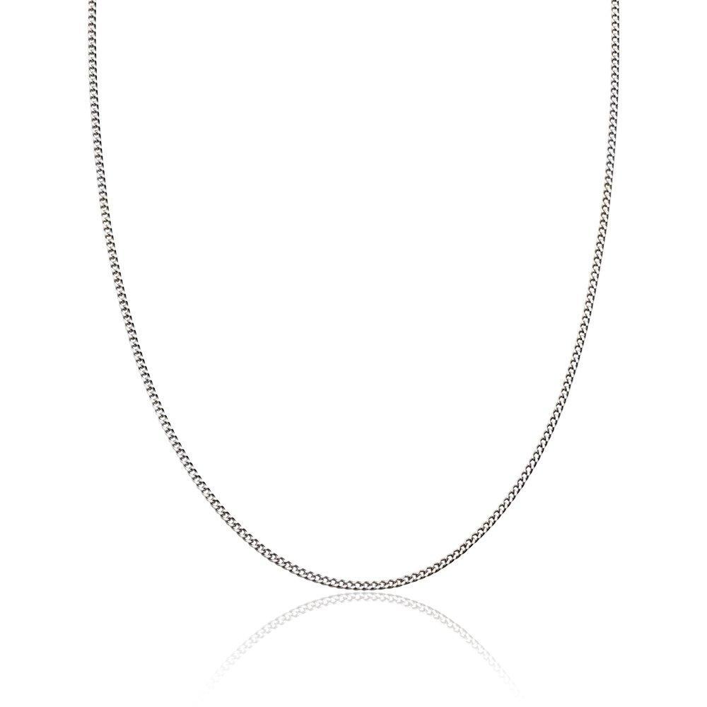 18ct White Gold Curb Chain 45cm
