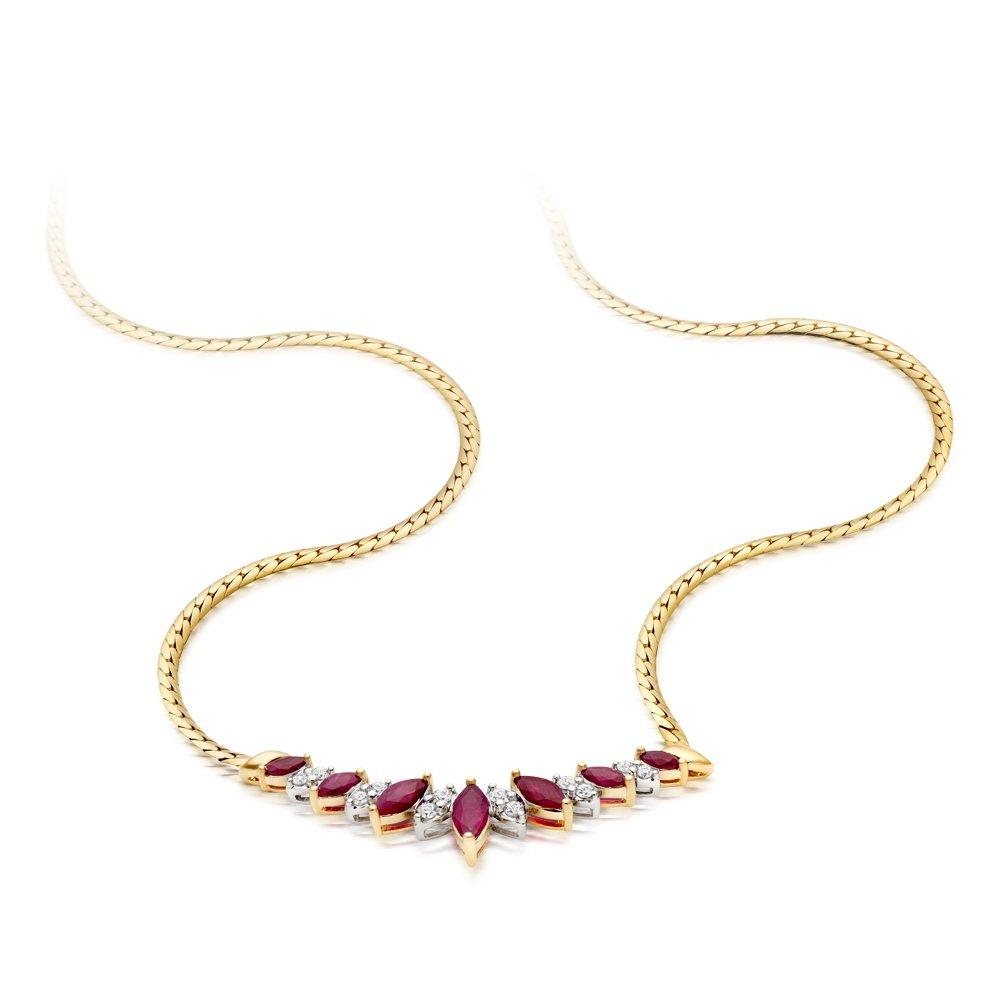 18ct Gold Diamond and Ruby Collarette - 42cm