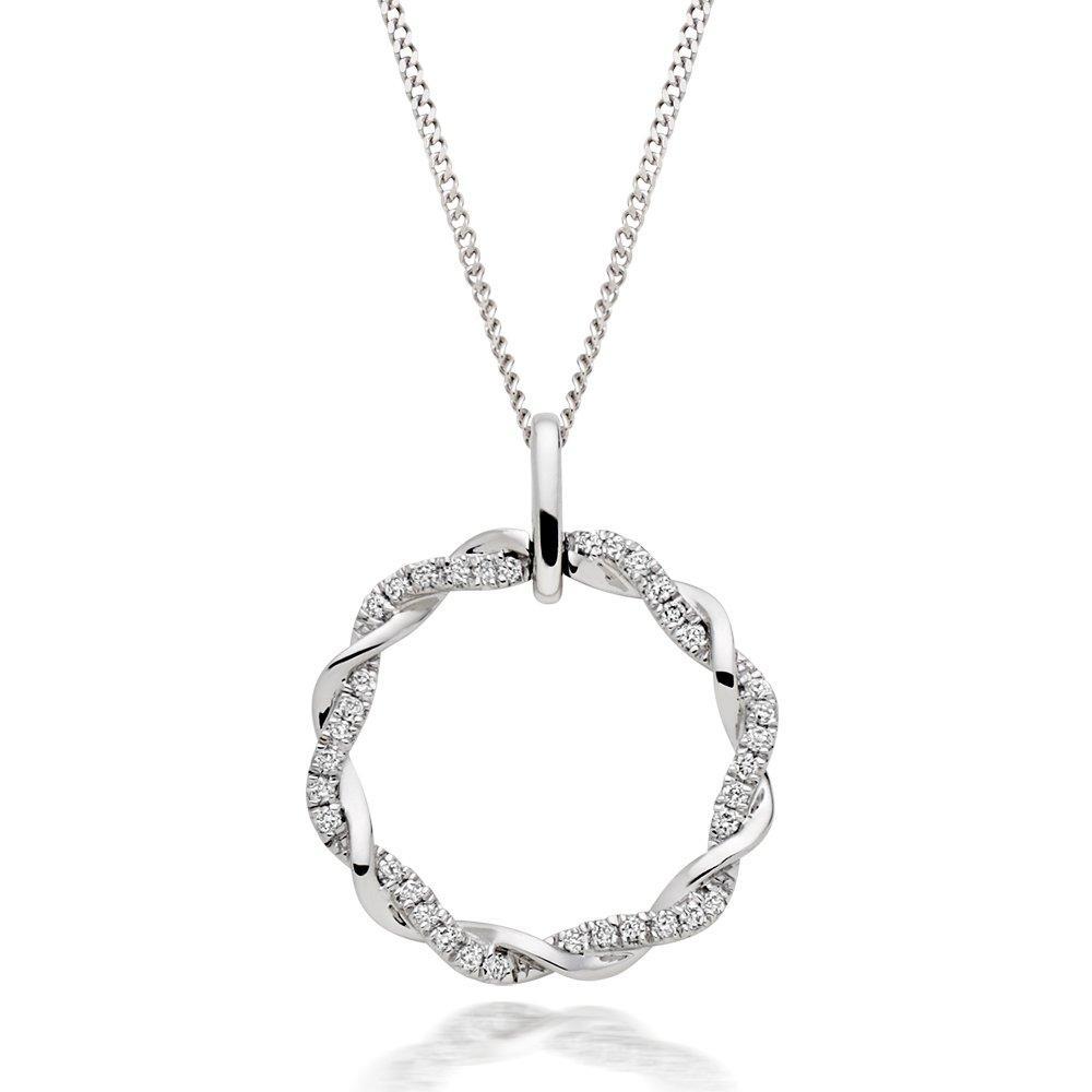 Entwine 18ct White Gold Diamond Circle Pendant