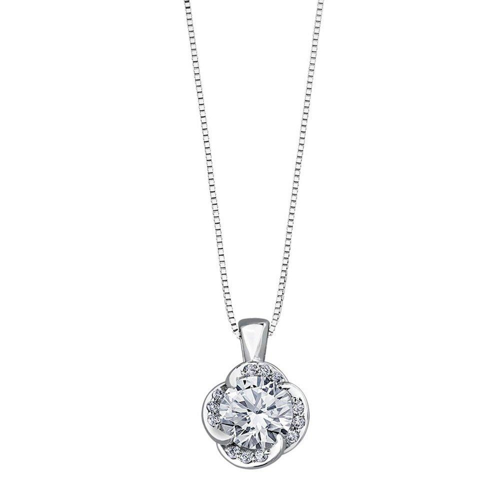 Maple Leaf Diamonds Wind's Embrace 18ct White Gold Diamond Solitaire Pendant
