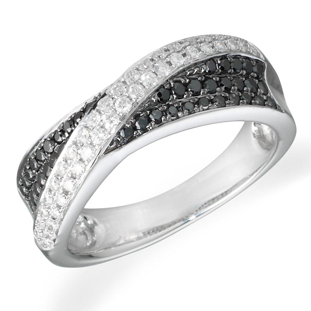 18ct White Gold Black and White Diamond Ring